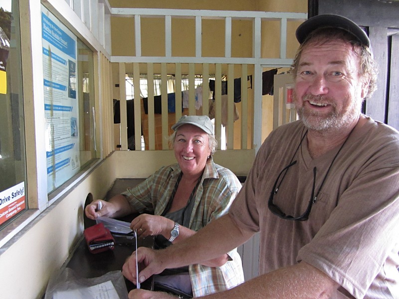 An Australian crew check in at immigration. Bartica Guyana