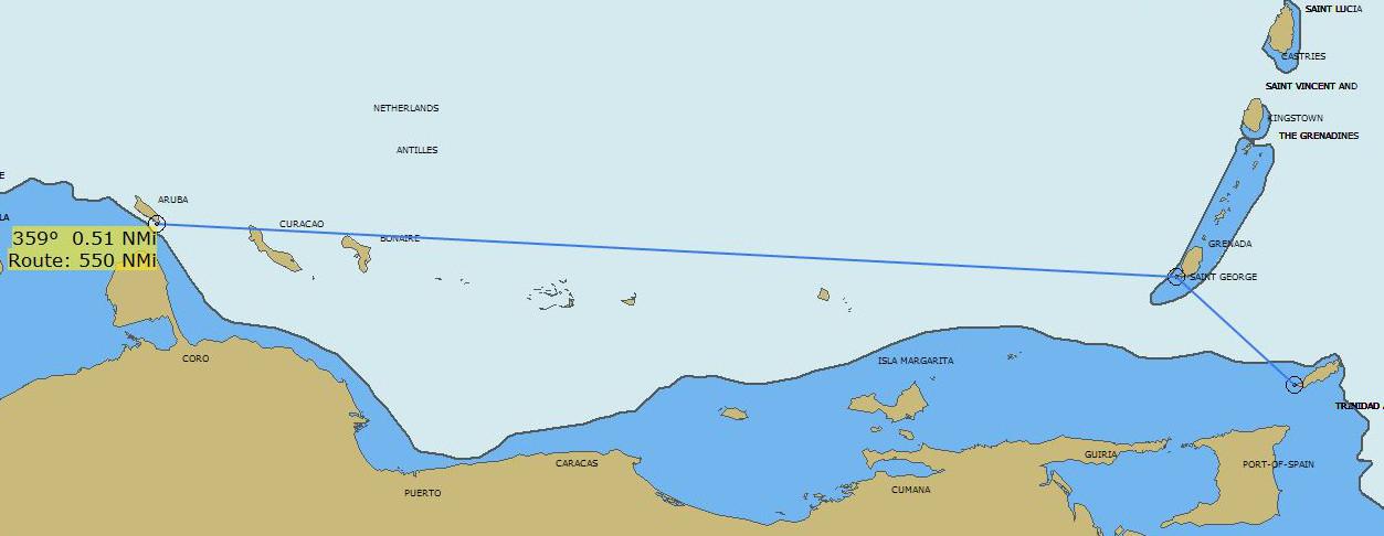 Sailing from Trinidad & Tobago to Aruba