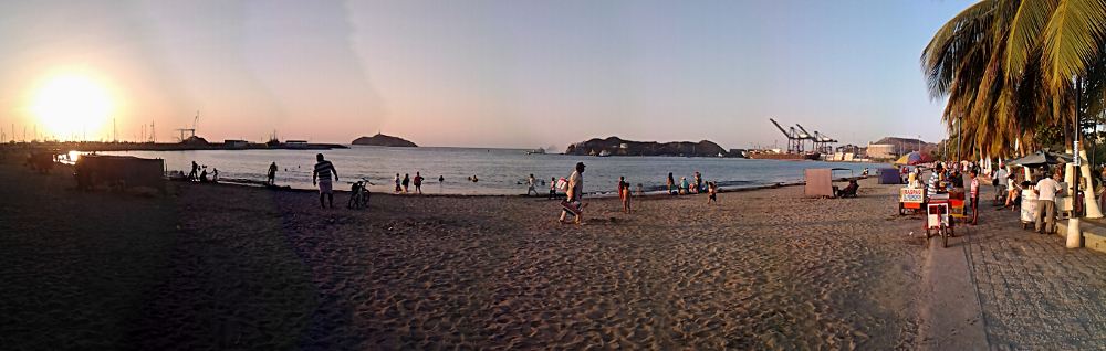 Playing tourist on the beach in Santa Marta, Colombia