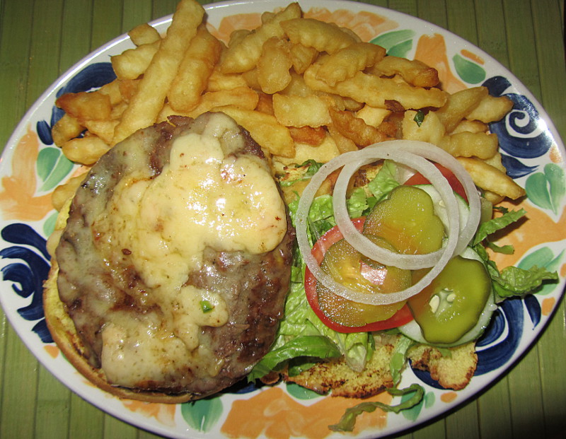 Luxury open burger at Coco Cafe, Tobago
