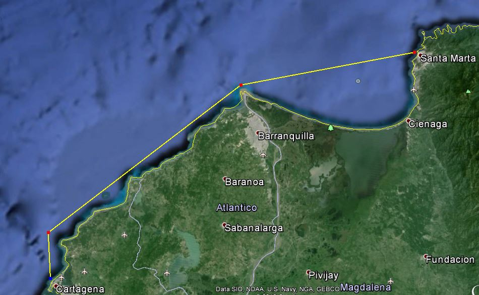 Santa Marta to Cartagena via the mouth of the Magdalena River off Barranquilla