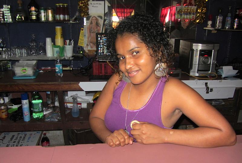 A camera shy bar maid at