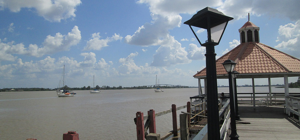Anchored off the Torarica Pier in Paramaribo