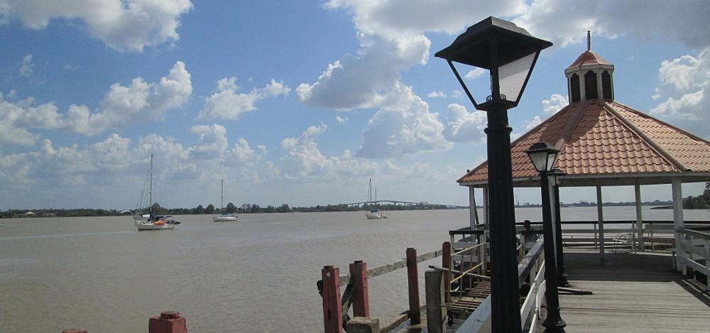Anchored off the Torarica Pier in Paramaribo